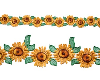 "1"",2"",3"" wide Sunflower Daisy Embroidered Lace Trim DIY Sewing Notions CF4031/2/3 by 12""(30 CM)"