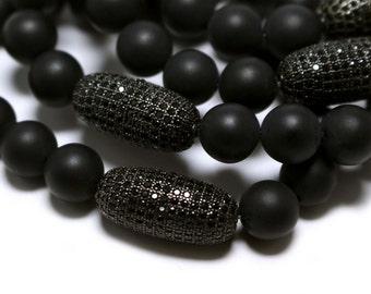 Black Onyx Beaded Bracelet, Onyx Cubic Zirconia Bead Bracelet, Black Friendship Bracelet, Onyx Beads, Onyx Jewelry