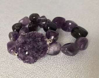 Chakra Healing Bracelets - Amethyst Bracelets - Gemstone Bracelets - Purple jewelry amethyst jewelry - birthstone jewelry for mom -set of 2