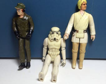Vintage 1980 Star Wars Figures - Luke, Storm Trooper