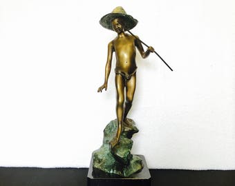 Boy fishing statue etsy for Little boy fishing statue