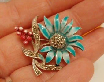Vintage kitsch enamel and marcasite flower brooch