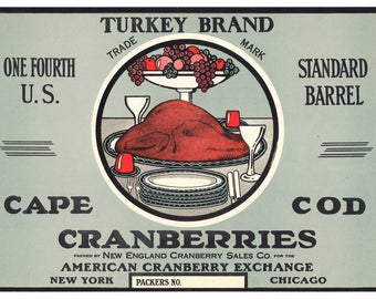 Cranberry Label, Turkey Brand Cape Cod Cranberries, Produce Label