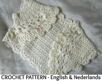 English + Dutch Crochet Pattern Romantic Bolero 0-24 months
