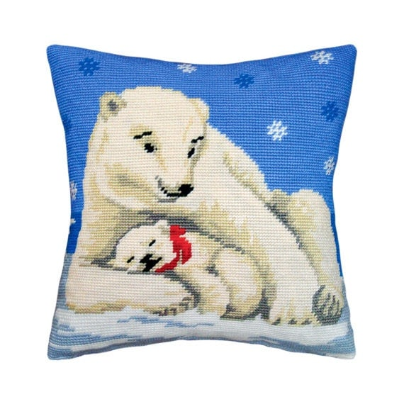 Modern Cross Stitch Pillow Kits : Cross Stitch Kit, Polar Bears Pillow, Size 16