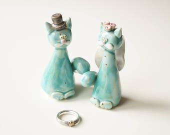 Cat Wedding Cake Topper, Cat Cake Topper, Wedding Cake Topper, Wedding Cake Decor, Cat Couple, Turquoise Cat, Handpainted Cake Topper