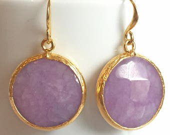 SALE!! Round Purple jade stone earrings | Jade Earrings |  Purple Jade jewellery | Gold Dangle Earrings