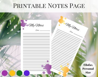 Filofax Personal Inserts, Printable Notes Page, Printable Planner Pages, Planner Notes Page, Printable Inserts, Notes Printable