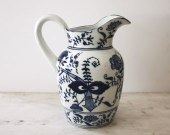 Vintage Seymour Mann Blue and White Chinoiserie Porcelain Pitcher