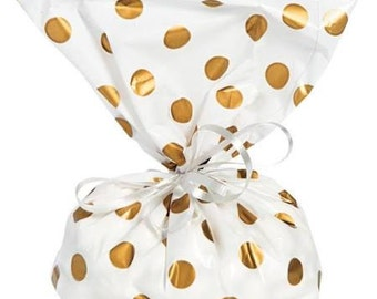 12/The golden Polka dots Cello Treat Bags  / Treat bags / favor bags /