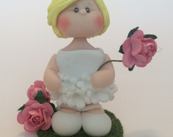 Little Girl with Flower Polymer Clay Cake topper/ Bauble