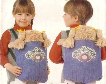 Vintage 80s Butterick Cabbage Patch Kids 6662 P'tits Bouts de Choux Adjustable Carrier with Iron On Transfer Uncut