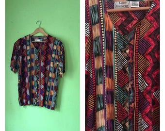 Vintage TRIBAL shirt rayon button down blouse HIPPIE ethnic clothing 1980s plus size clothing Boho 80s womens XXL