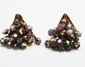 Vintage - Collectible - Rhinestone Earrings - Jewelry - Gold - Rhinestones - Earrings - Triangle - Sparkling - Unique - Women's - Birthday