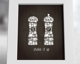 Shake It Up Kitchen Icons Salt and Pepper Poster, Salt and Pepper Print Art, Kitchen Poster, Kitchen Decor, Kitchen Print, Kitchen Wall Art