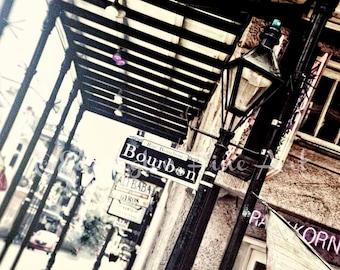 Bourbon Street photo, New Orleans Photo, New Orleans art, travel photo, urban decor, NOLA, New Orleans, street photography, travel art