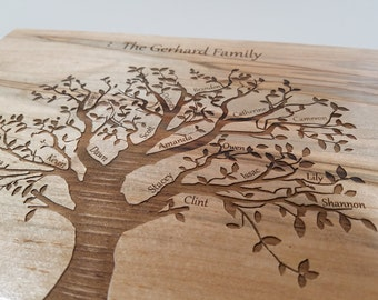 Personalized Family Tree Keep Sake Box with Names,12x8x4 Laser Burned Tree of Life Memory Wood Box, Detailed Wood Family Tree Box