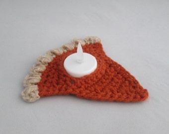 Thanksgiving Pumpkin Pie Slice Handmade Crocheted Tea Light Cozy/ Room Decor/ Kitchen Decor/ Thanksgiving Decoration/ Tea Light Cozy
