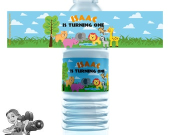 Jungle Safari Animals Water Bottle Labels
