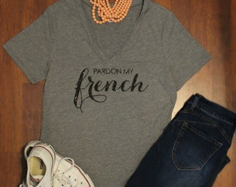 Pardon my French Shirt... Heather Grey scoop neck/ Black Glitter