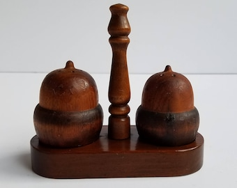 Wooden Acorn Salt & Pepper Shakers with Stand