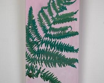 fern painting - fern illustration - mixed media art - wall art canvas green - proportional art - stylish modern art - stylish artwork