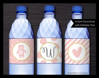 Pink and Gold Baby Shower Water Bottle Wrappers // Girl Baby Shower Invitation // Editable // Instant Download