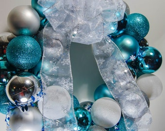 Blue, White, and Silver Shatterproof Christmas Ornament Holiday Wreath