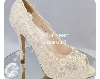 vintage lace wedding shoes crystal pearls bride heels custom shoes
