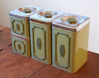 Kitchen Canisters Avocado Green Tin Canisters - Set of 4 Sugar, Flour, Coffee & Tea - Made in Canada