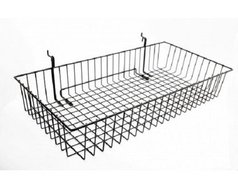 "24"" x 12"" Metal Gridwall Basket w/ Hooks - Black119074"