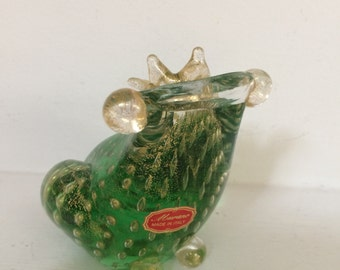 Murano Glass Frog Prince Sculpture  - Hand Blown Murano Glass Sculpture