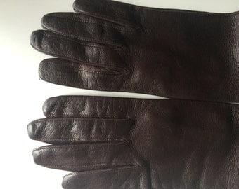 Italian Silk Lined Dark Brown Lambskin Gloves