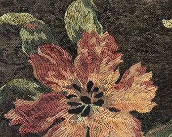 Brown Chenille Salmon Flower - Upholstery Fabric By The Yard