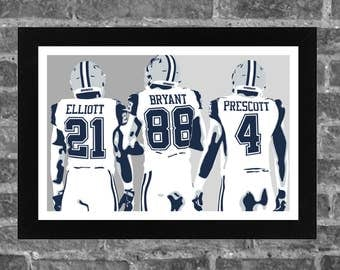 Dallas Cowboys Ezekiel Elliott Dez Bryant Dak Prescott Portrait Sports Print Art 17x11