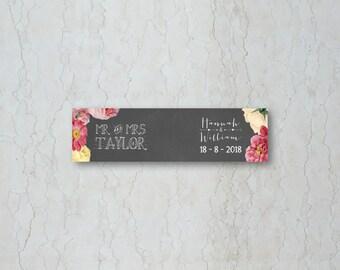 Floral Chalkboard Straw/Cupcake Flag