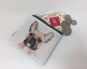 French Bulldog linen coin purse