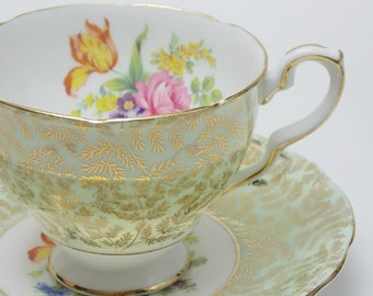 Royal Stafford Flower Green Gold Chintz Vintage Tea Cup and Saucer Fine Bone China Made in England
