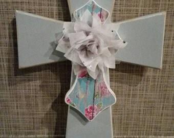 Gray Floral Cross