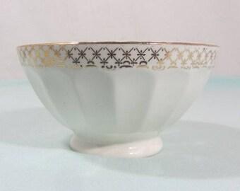 French vintage breakfast bowl, cafe au lait bowl, white china bowl, footed bowl, French breakfast bowl, French vintage kitchenware.