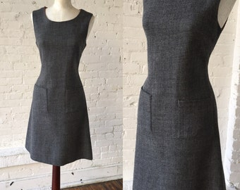 1960s Gay Gibson Wool Gray Vintage Mod Dress