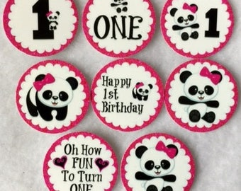 Set of 50/100/150/200 Personalized Panda Bear 1st Birthday Party 1 Inch Confetti Circles