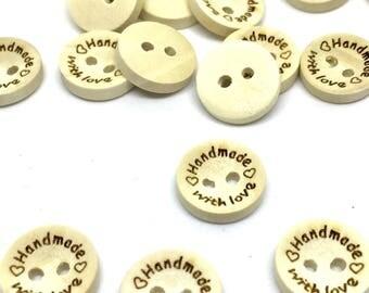 """10 wooden buttons """"Handmade"""", 15 mm"""