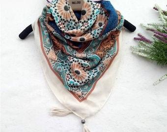 Scarf Moroccan Zellige with Pompom geometric hijab