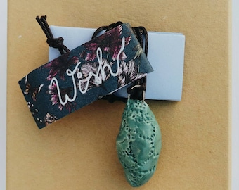 Ceramics Pendant - Wish - Butterfly Cocoon - Statement, One of a kind, Bohemian Jewellery