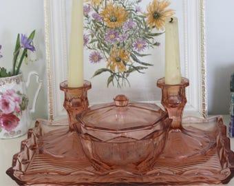 Vintage pink glass vanity dressing table set