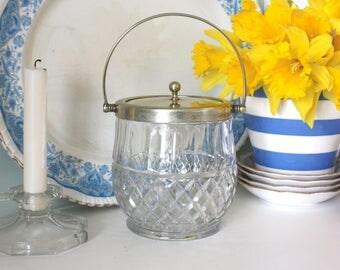 Antique Victorian, Edwardian Cut Glass Biscuit Jar & EPNS Lid