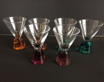 Vintage Triangular Shot Glasses with Gemstone-Coloured Conical Stems