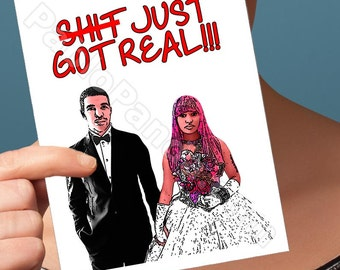 Funny Wedding Card | Drake Card | Nicki Minaj Valentine Card You'Re Engaged Card Engagement Card Marriage Card Engagement Congrats Card For
