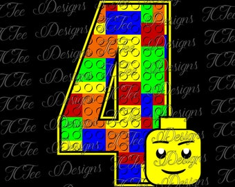 Lego 4 - 4th Birthday - Lego Birthday SVG Design Download - Vector Cut File